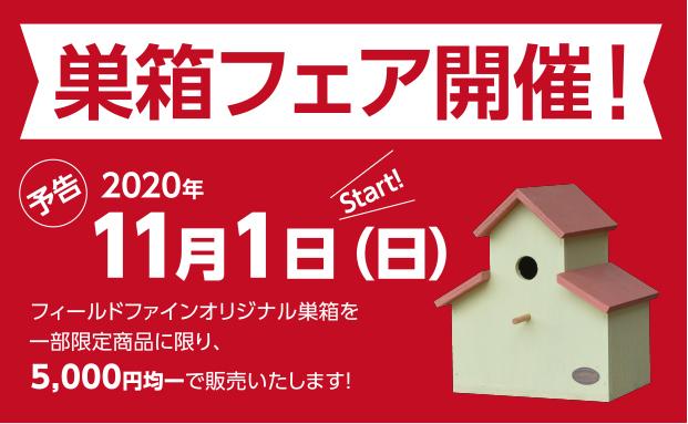 【予告】巣箱フェア定番20%OFF、限定商品のお知らせ