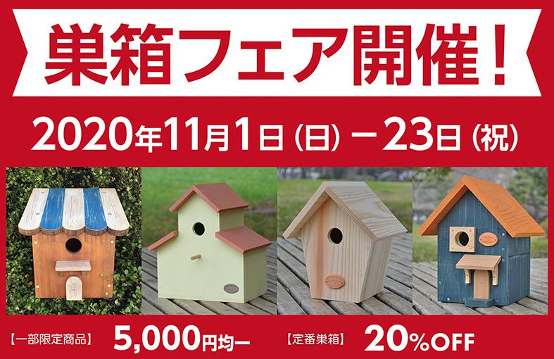 巣箱フェア開催中!定番20%OFF、限定商品は¥5000均一